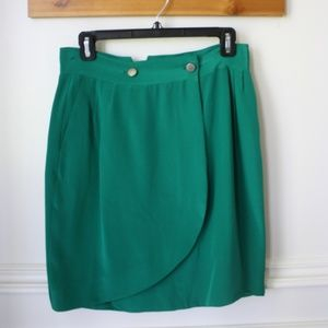 Rag & Bone Green Silk Wrap Petal skirt 27